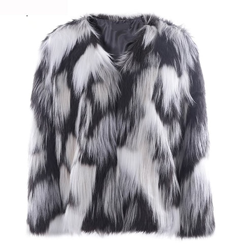 Queen Bee - Faux Fur Coat - Grey Multi