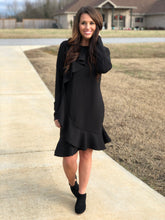 Load image into Gallery viewer, Black Front Ruffle Dress