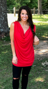 Jersey Knit Cowl Neck Top