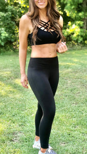 Microfiber Wide Waistband Full Length Leggings- Black