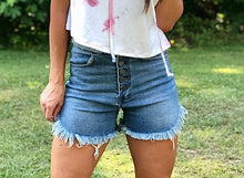 Load image into Gallery viewer, High waist raw edge button down denim shorts.