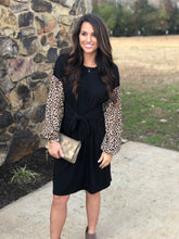 Load image into Gallery viewer, Leopard Sleeve Front Tie Dress