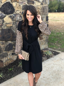 Leopard Sleeve Front Tie Dress