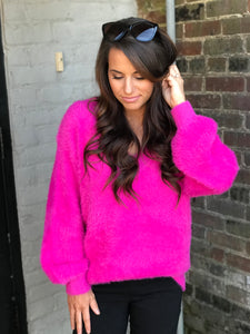 Pink Fuzzy Tunic Sweater