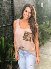 Load image into Gallery viewer, Sleeveless Leopard Pocket Top Ash Mocha