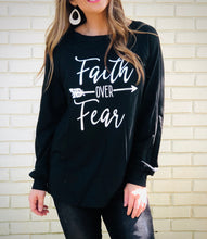 Load image into Gallery viewer, Faith OVER Fear Black Shirt