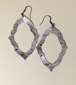 Silver/Black Crackle Earrings