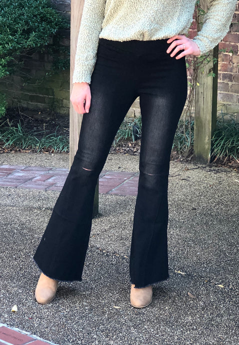 Distressed Bell Bottom Pants-Black