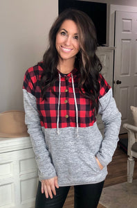 Red Plaid Splicing Pocketed Gray Hoodie