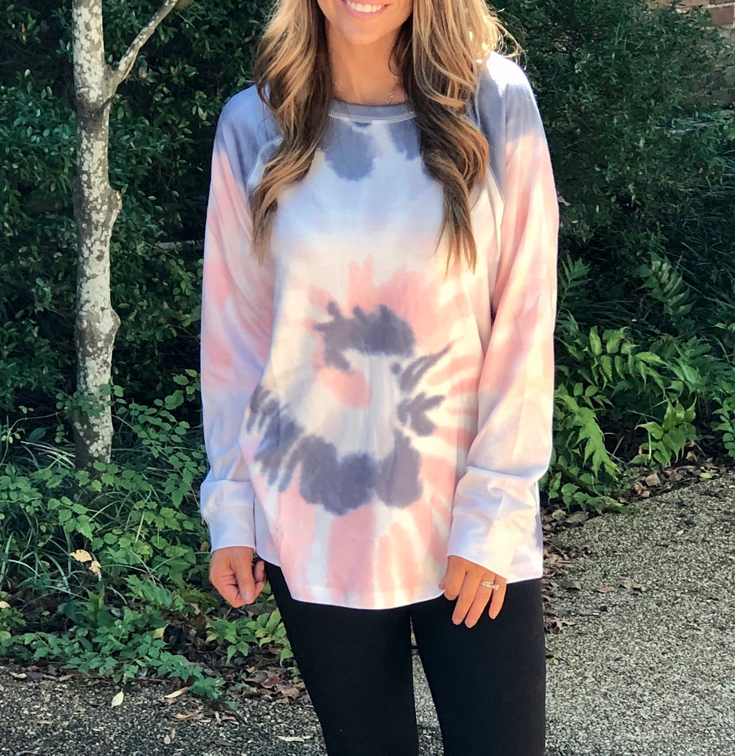 Ombre Tie Dye Loose Leisure Sweatshirt