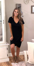 Load image into Gallery viewer, Black Clear Skies Jersey Twist T-Shirt Dress