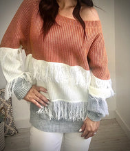 Load image into Gallery viewer, Fringe Color Block Sweater Top