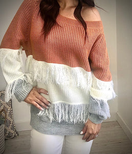 Fringe Color Block Sweater Top