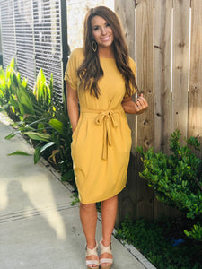Front Tie Solid Dress Mustard