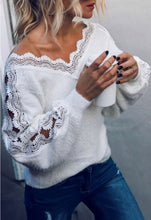 Load image into Gallery viewer, Pretty Chic V Neck Lace Tunic Sweater