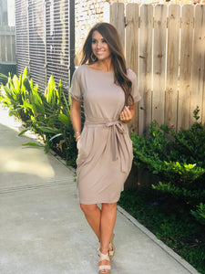 Front Tie Solid Dress Ash Mocha
