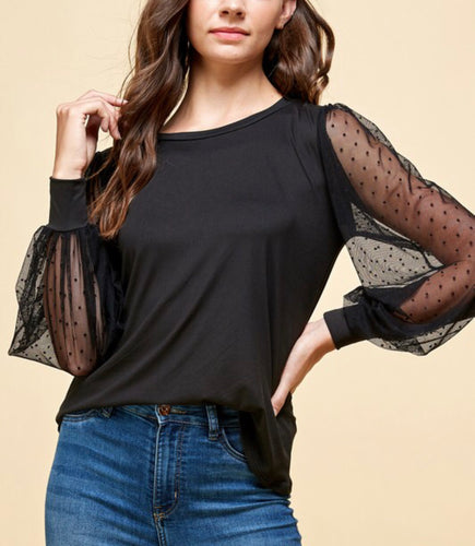 Les Amis Lace Sleeve Top