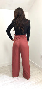 Ribbon Belt Wide Leg Pants - Rose
