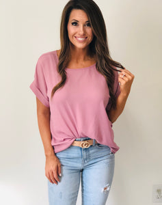 Dobby Rolled Sleeve Top Rose