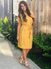 Load image into Gallery viewer, Front Tie Solid Dress Mustard
