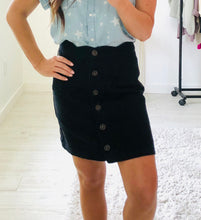 Load image into Gallery viewer, Scalloped Denim Mini Skirt