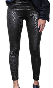 Black Leopard Textured Leggings