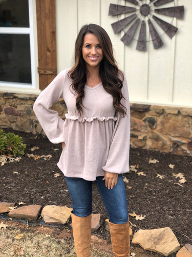 Solid Knit Peplum Blouse