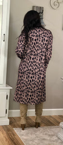 Leopard Print Open Front Pocketed Cardigan