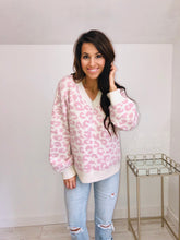 Load image into Gallery viewer, Pink Leopard V Neck Sweater