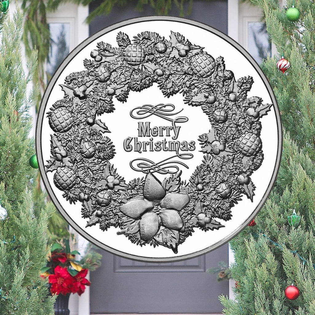 Christmas Wreath .999 Fine Silver Round