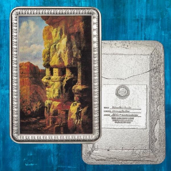 "Based on works from the Smithsonian Institute's art collection.  This 2 oz. Solid Silver bar is beautifully designed to resemble the painting, Cliff House on the Rio Mancos, Colorado by William Henry Holmes. The intricate trim of the ""picture frame"" surrounds the fine detail of the miniature art re-creation. The reverse resembles the back of an actual oil on canvas painting with fine details such as a hanging wire and detailed label which features the signatory O/M mintmark."