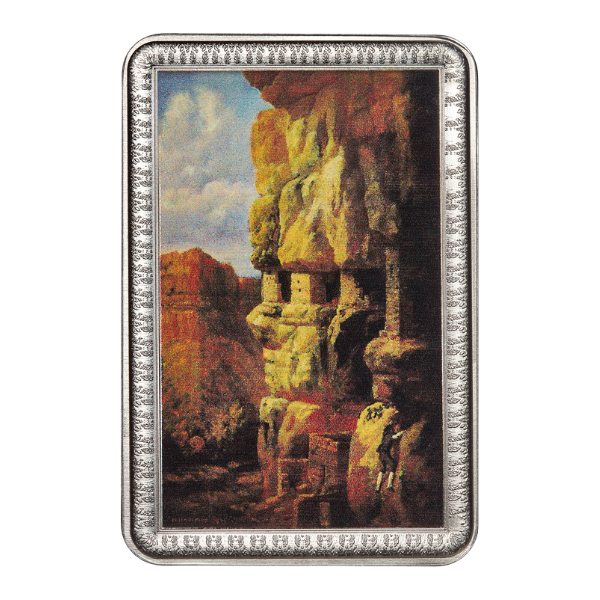 Cliff Houses on the Rio Mancos 2 oz Solid Silver Bar