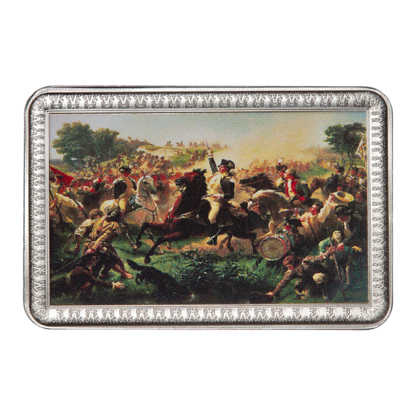 Washington Rallying the Troops at Monmouth by Emanuel Gottlieb Leutze, 2 oz Solid Silver Bar