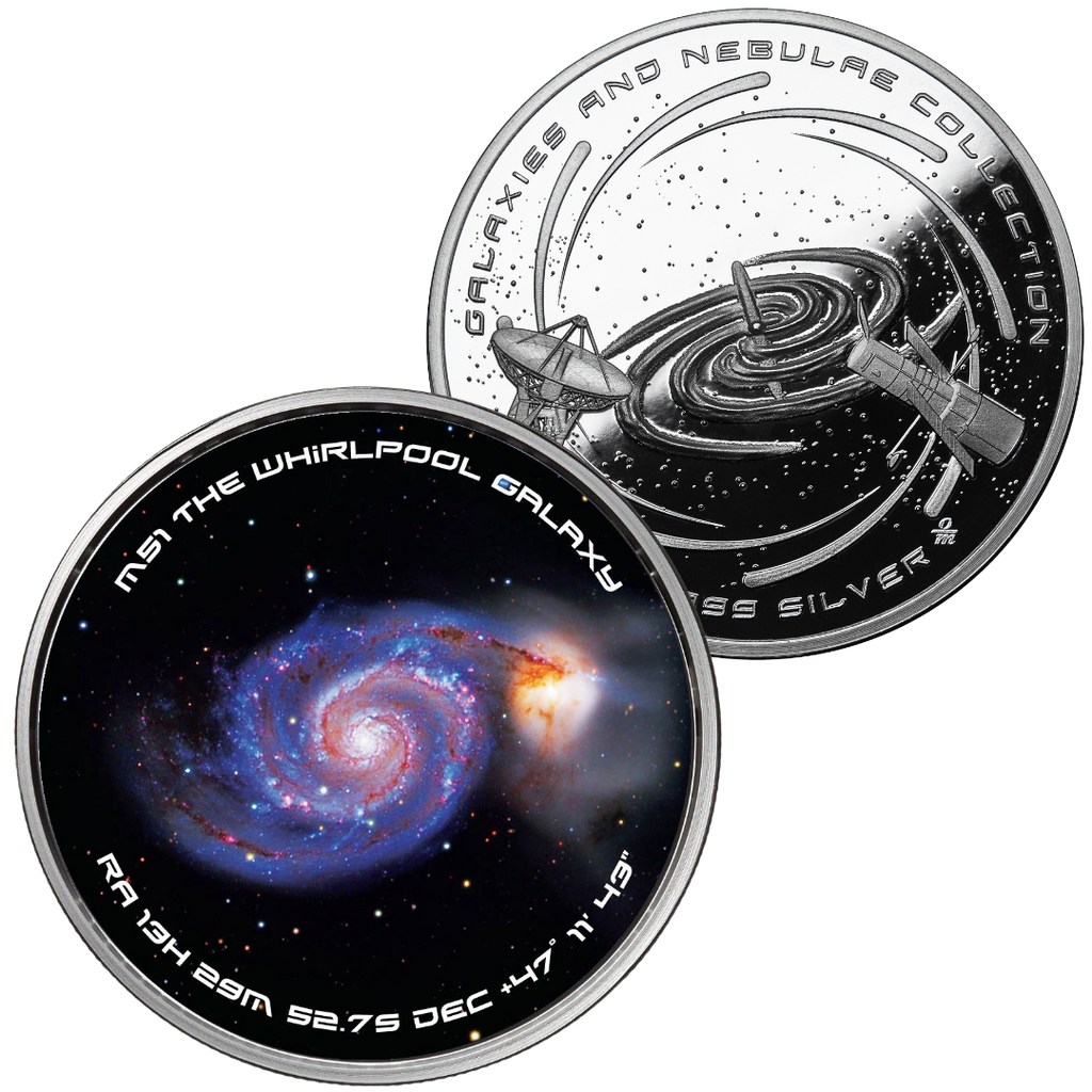 The Whirlpool Galaxy Solid Silver Spinner Collectible Round - Now in Stock!