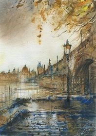 Autumn in Prague by Ekaterina Kuznetsova,  36cm*45cm, watercolour