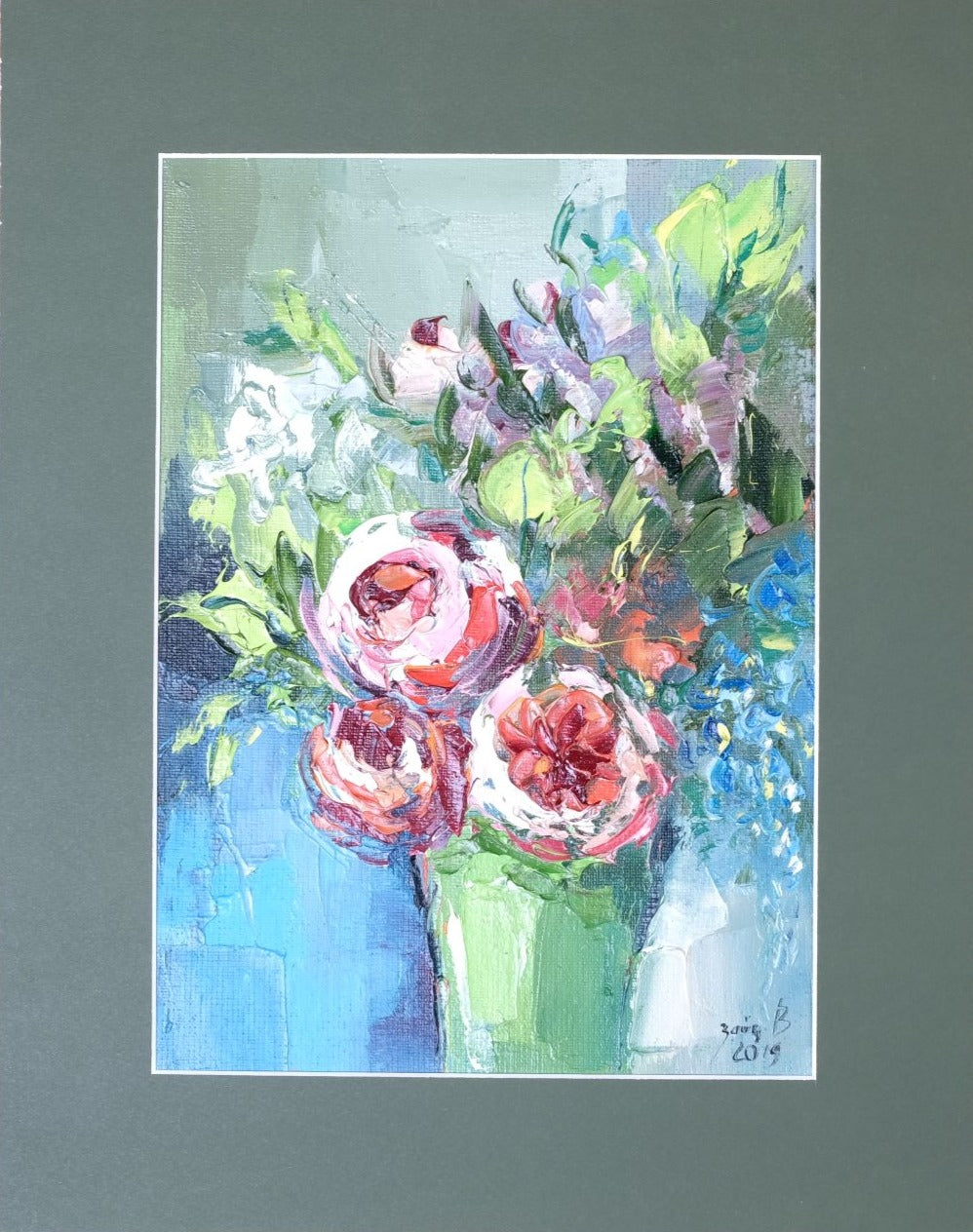Flowers in a green vase by Valentina Zaytseva, 21cm*30cm, acrylic painting