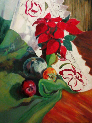 Still life on green by Vesna Simic, 80cm*60cm, oil painting