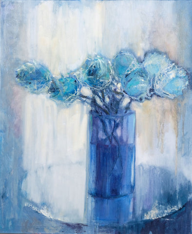 Blue roses by Olga Rikun, 50cm*60cm, oil painting