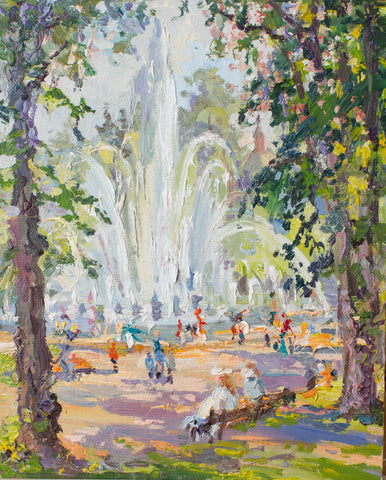Fountain in the Gorkiy park by Zhanna Samorukova, 25cm*20cm, oil painting