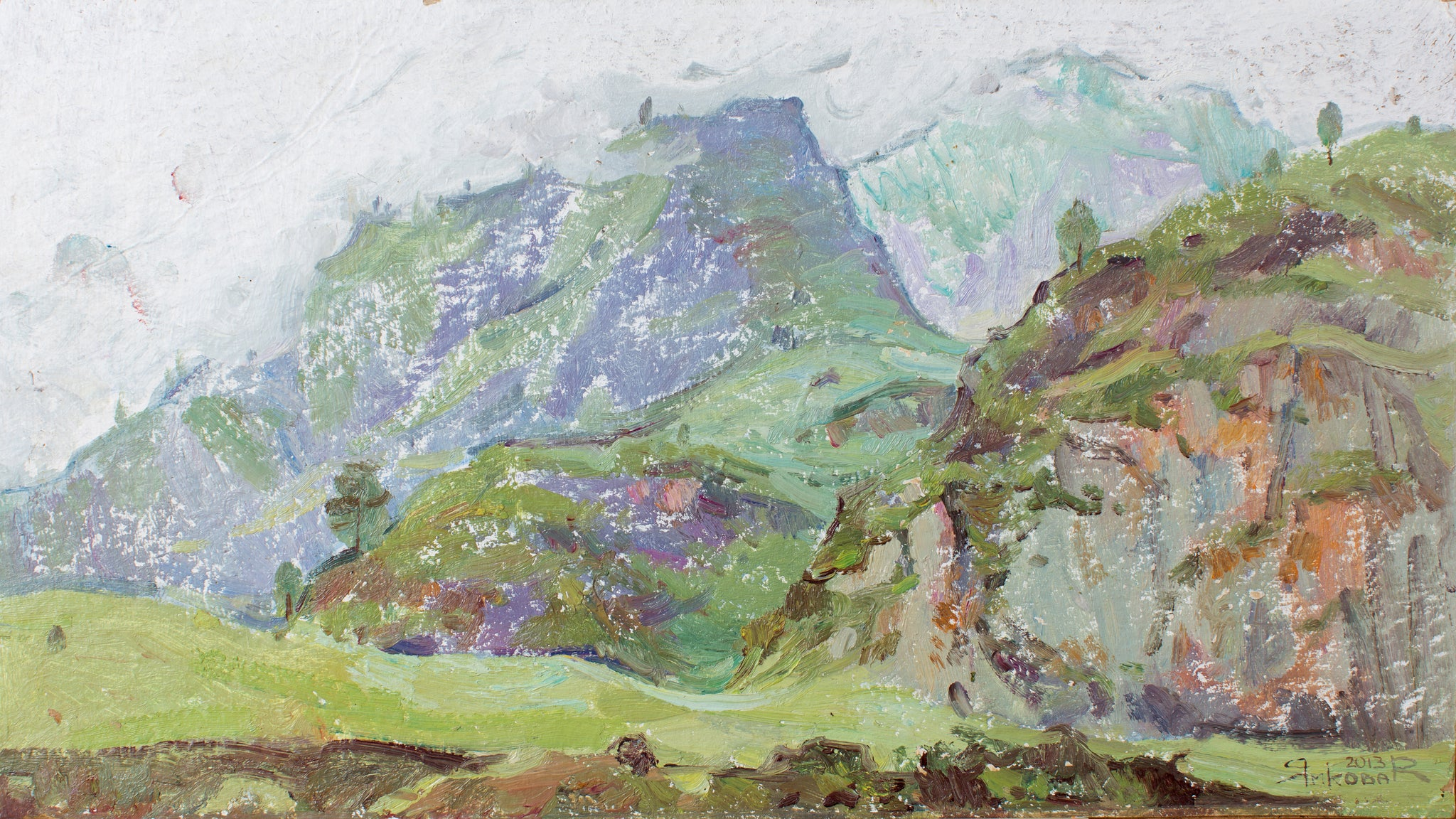 Breath of mountains by Natalia Plohih (Yamkova), 27cm*48cm, oil painting