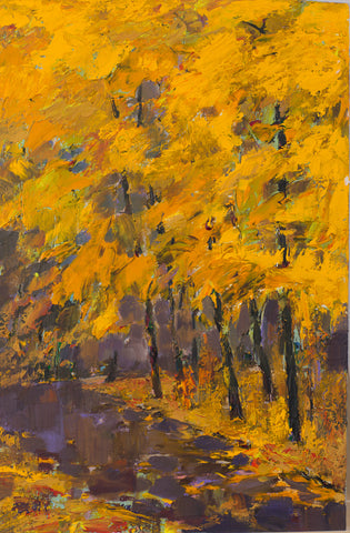 Etude in the autumn park by Anatoliy Kakalov, 36cm*54cm, acrylic painting