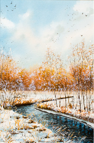 Winter river by Djamshid Umarov, 33cm*43cm,  watercolour