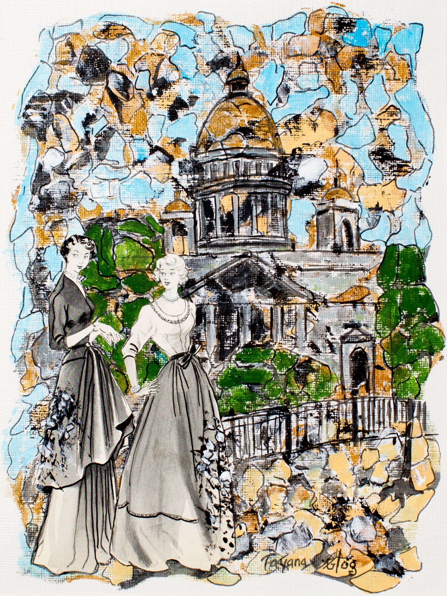 Saint-Petersburg dreaming by Tatyana Gogoloshvili, 38cm*45cm, mixed media