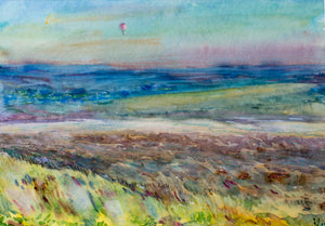 Landscape with a hot air balloon by Michail Taran, 40cm*50cm, mixed media