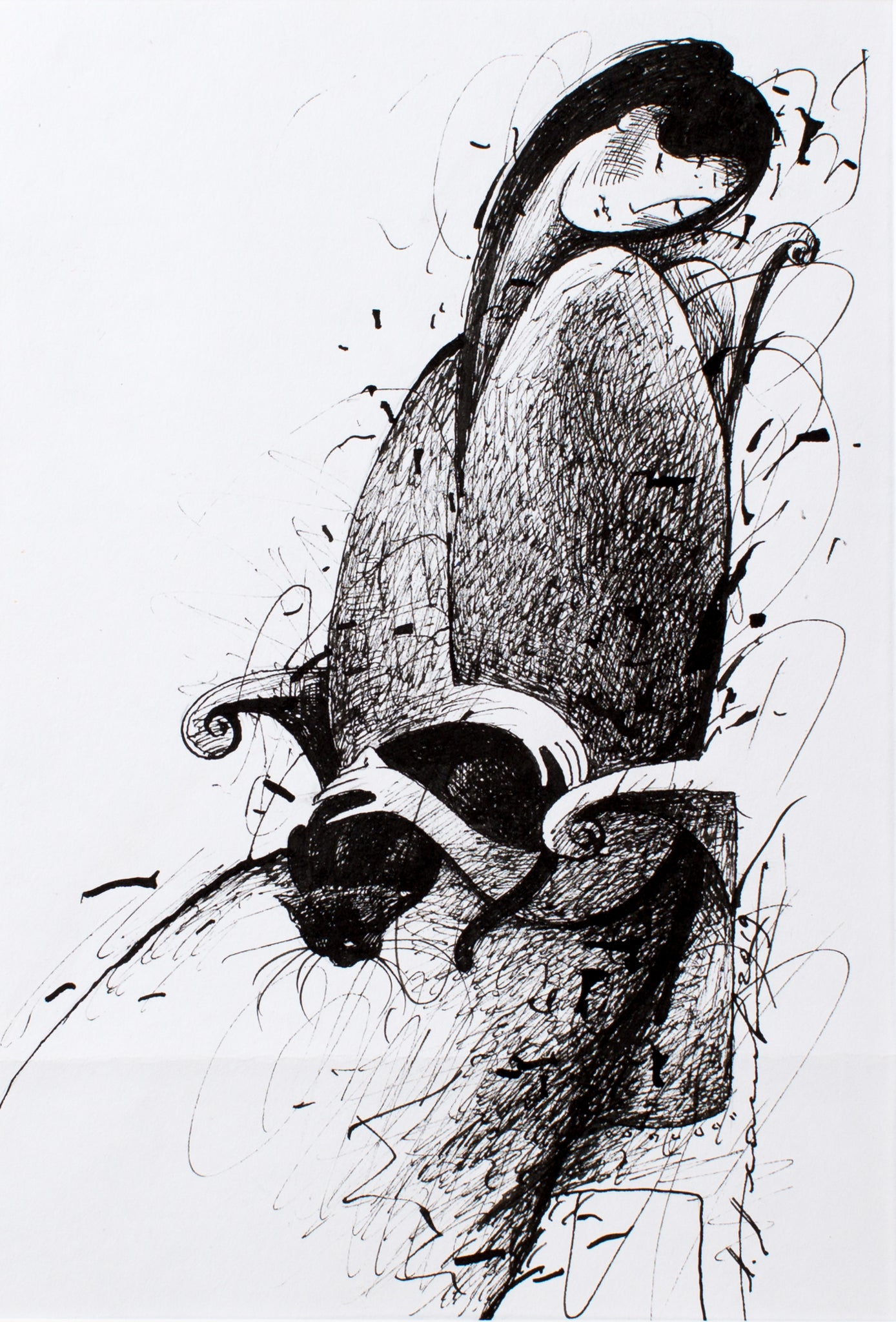 Peacefulness by Aleksander Ahanov, 35.5cm*44.5cm, ink drawing