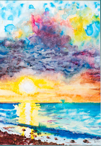 Sunset at sea by Nadezda Soboleva, 44cm*56cm, watercolour