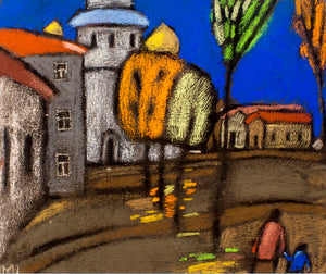 October in the city by Marina Shlyapina, 53cm*47cm, pastel drawing