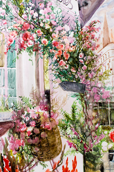 Paris and roses by Nadezda Soboleva, 57cm*74cm, watercolor.