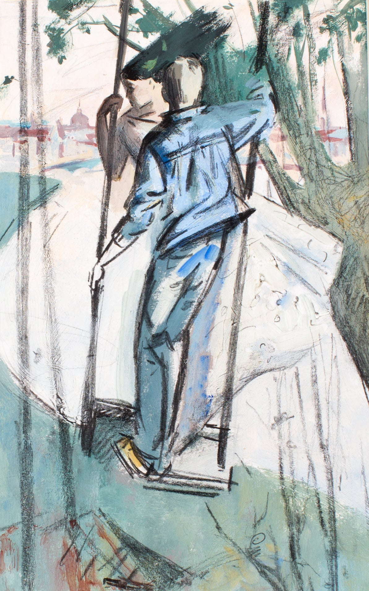 Swings by Nadezda Vorontsova, 31.5cm*41cm, tempera painting