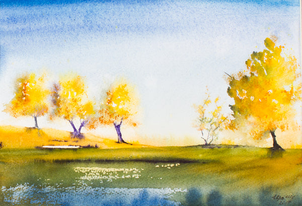 Autumn landscape by Irina Shoulenkova, 35cm*43cm, watercolor